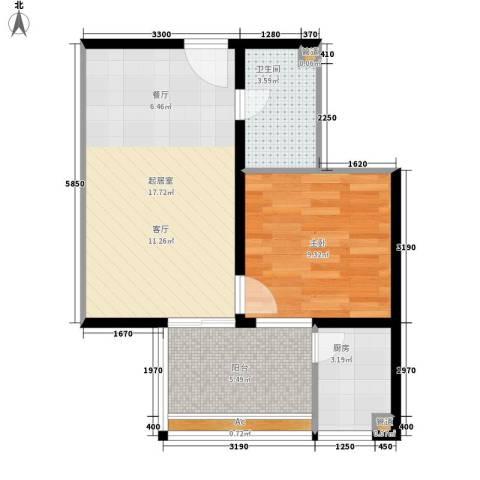 益鹏翠苑1室0厅1卫1厨57.00㎡户型图