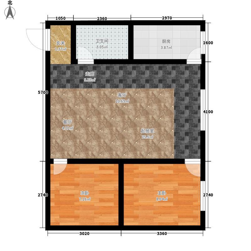 泰伦特酒店商务公寓66.53㎡C11户型2室1厅