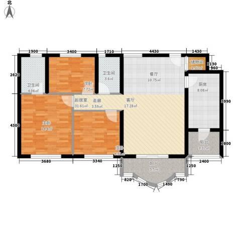 祈福水城3室0厅2卫1厨125.00㎡户型图