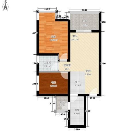 祈福水城2室0厅1卫1厨74.00㎡户型图