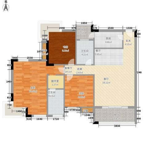 新世纪可居3室1厅2卫1厨102.00㎡户型图