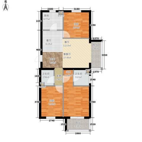 奥特锦鸿嘉苑3室1厅2卫1厨103.00㎡户型图