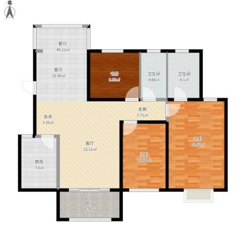 花样年别样城2期3室1厅2卫1厨156.00㎡户型图
