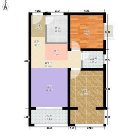 南湖一号2室1厅1卫1厨86.00㎡户型图
