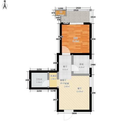 左邻右舍1室1厅1卫1厨52.00㎡户型图