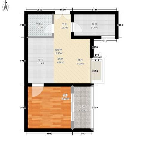 左邻右舍1室1厅1卫1厨62.00㎡户型图