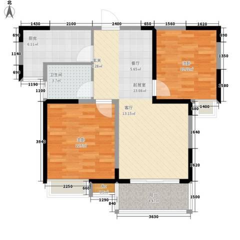世家星城2室0厅1卫1厨84.00㎡户型图