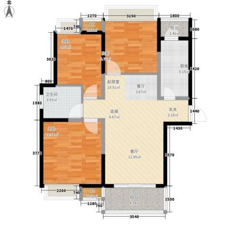 世家星城3室0厅1卫1厨94.00㎡户型图