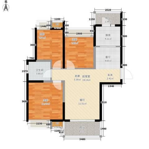 世家星城3室0厅1卫1厨98.00㎡户型图