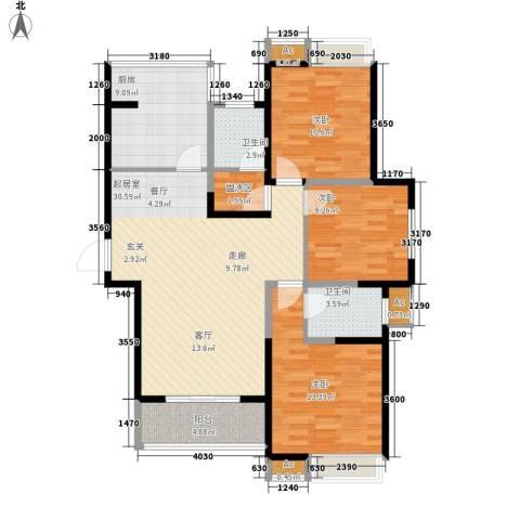 世家星城3室0厅2卫1厨121.00㎡户型图