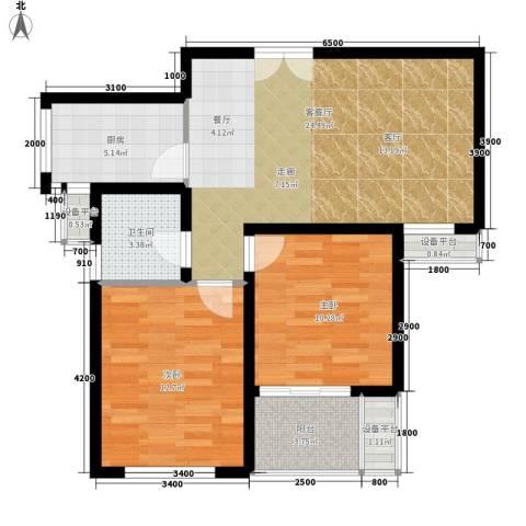 中泰嘉苑2室1厅1卫1厨100.00㎡户型图