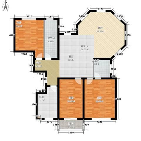 绵绣家园丽水湾3室1厅2卫1厨153.00㎡户型图
