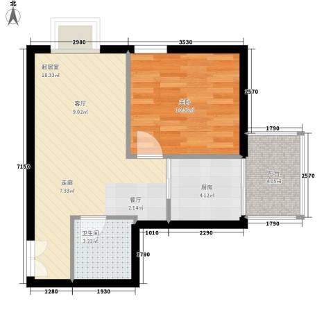 崇立金世园1室0厅1卫1厨59.00㎡户型图
