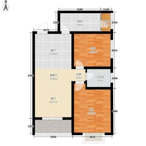 龙府北郡2室1厅1卫1厨94.00㎡户型图