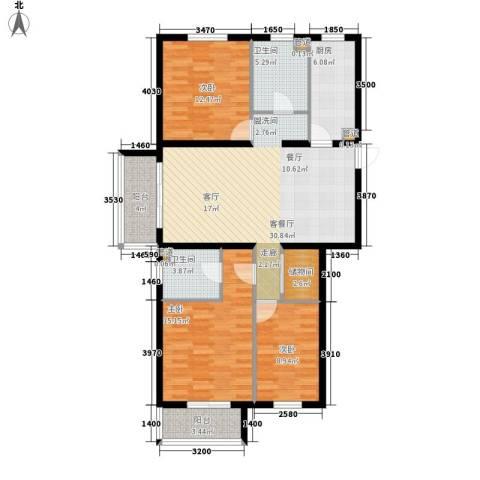 奥特锦鸿嘉苑3室1厅2卫1厨133.00㎡户型图