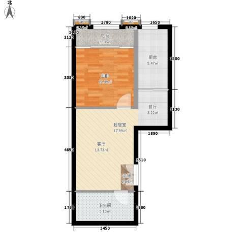 崇立金世园1室0厅1卫1厨55.00㎡户型图