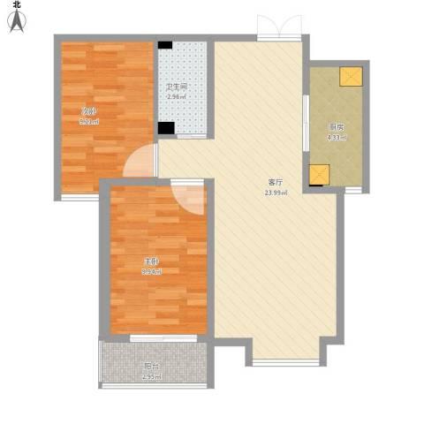 西部枫景傲城2室1厅1卫1厨76.00㎡户型图