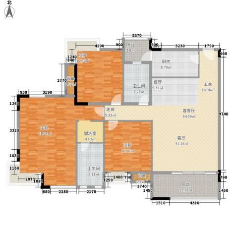 新世纪可居3室1厅2卫1厨190.00㎡户型图