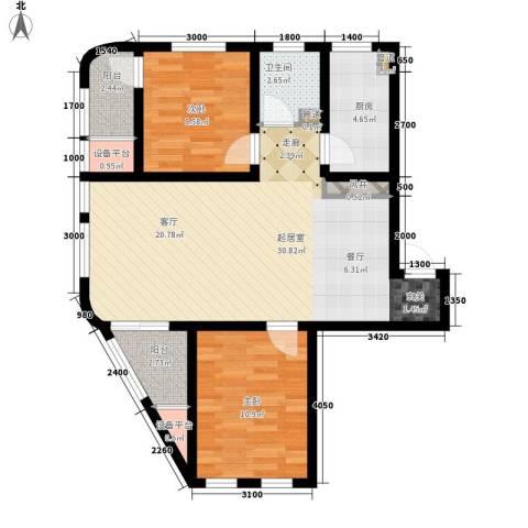 六合轩府2室0厅1卫1厨99.00㎡户型图