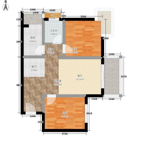 中天国际公寓2室0厅1卫1厨81.00㎡户型图