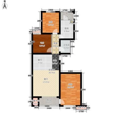 六合轩府3室0厅1卫1厨117.00㎡户型图
