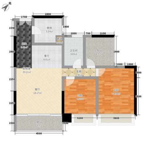 卓越东江2室0厅1卫1厨115.00㎡户型图