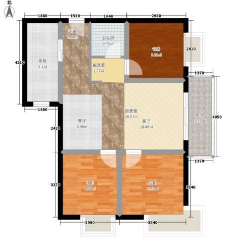 中天国际公寓3室0厅1卫1厨88.00㎡户型图