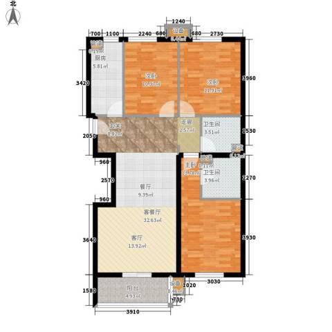 奥特锦鸿嘉苑3室1厅2卫1厨125.00㎡户型图