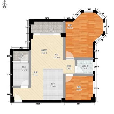 新都广场2室1厅1卫1厨83.00㎡户型图