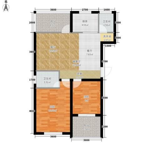 中泰嘉苑2室1厅2卫1厨98.00㎡户型图