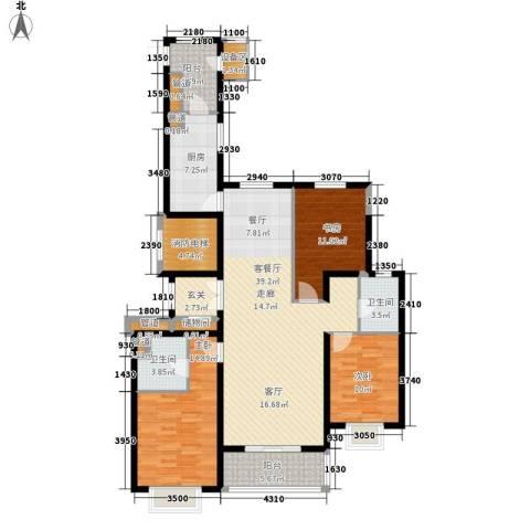 梧桐大道3室1厅2卫1厨153.00㎡户型图