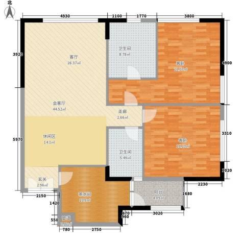 富力爱丁堡国际公寓2室0厅2卫0厨124.00㎡户型图