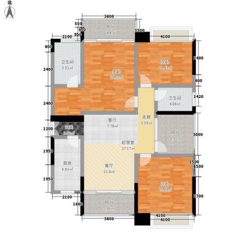 卓越东江3室0厅2卫1厨157.00㎡户型图