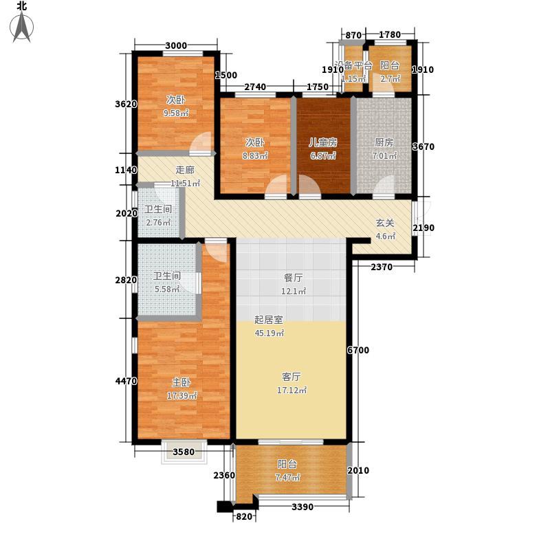 十二院城十二院城户型图A1-5户型四室两厅两卫(5/8张)户型4室2厅2卫
