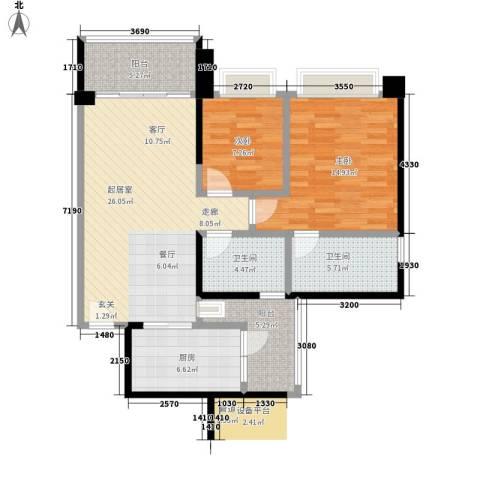 汇峰苑2室0厅2卫1厨99.00㎡户型图