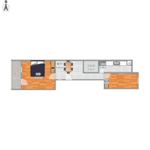 农光里小区2室1厅1卫1厨59.00㎡户型图