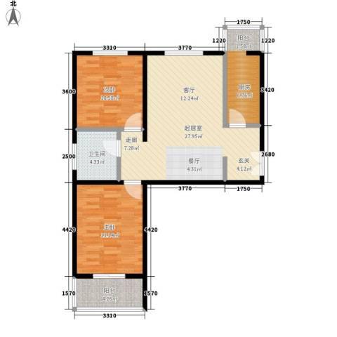 港丽城2室0厅1卫1厨99.00㎡户型图