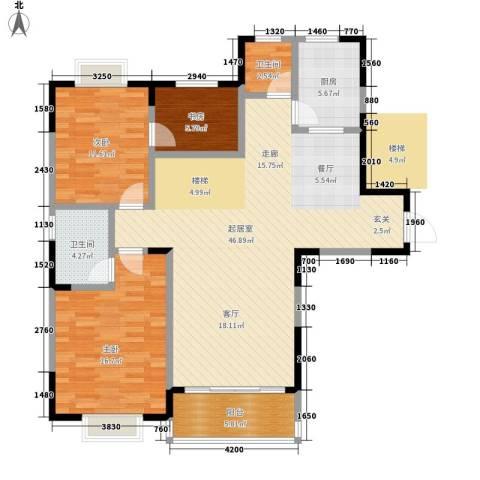 森海豪庭3室0厅2卫1厨128.00㎡户型图