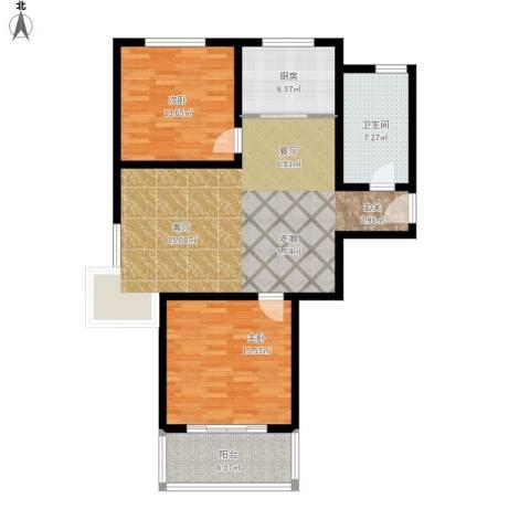 欧美世纪花园2室1厅1卫1厨118.00㎡户型图