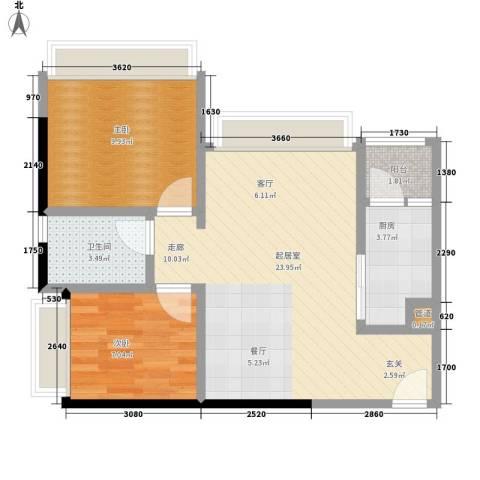 汇峰苑2室0厅1卫1厨72.00㎡户型图