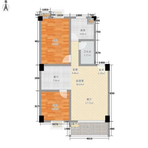 美景苑2室0厅1卫1厨76.00㎡户型图