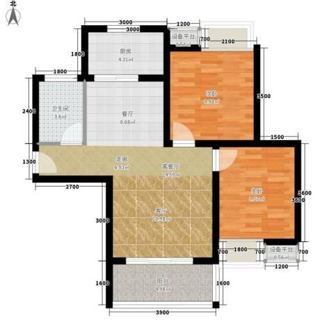 西延小区2室1厅1卫1厨84.00㎡户型图