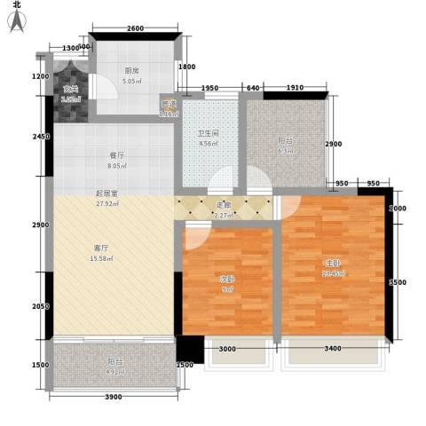 卓越东江2室0厅1卫1厨103.00㎡户型图