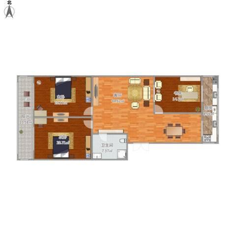 丽华甲第苑3室1厅1卫1厨168.00㎡户型图