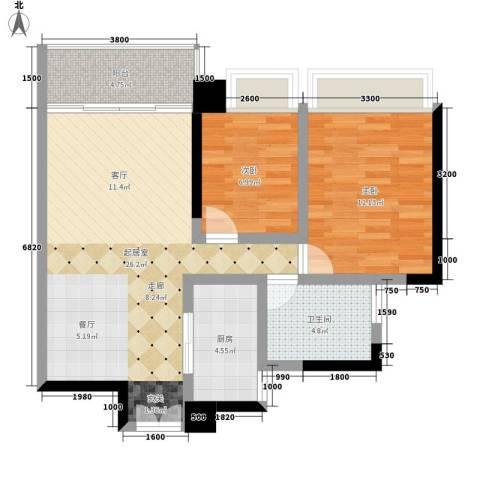 卓越东江2室0厅1卫1厨86.00㎡户型图