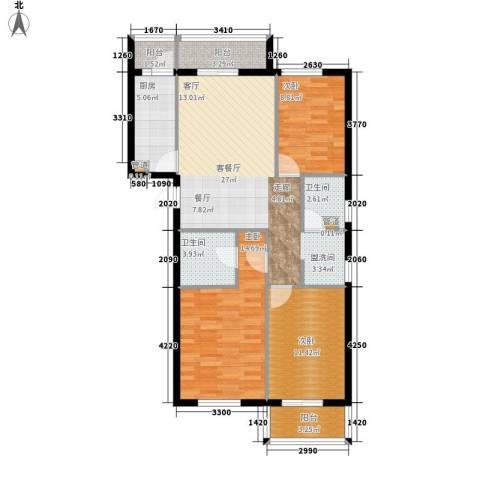 奥特锦鸿嘉苑3室1厅2卫1厨116.00㎡户型图