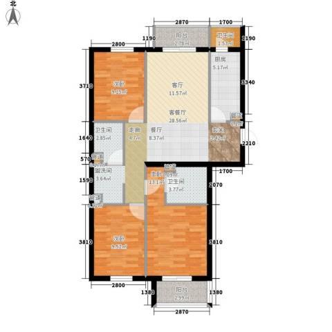 奥特锦鸿嘉苑3室1厅3卫1厨114.00㎡户型图
