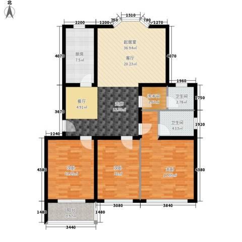 时代雅居3室0厅2卫1厨114.00㎡户型图