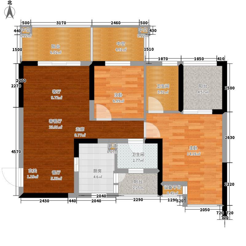 中房金沙海棠89.12㎡1、7、8栋奇面积8912m户型