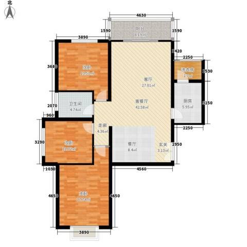 龙府北郡3室1厅1卫1厨116.00㎡户型图